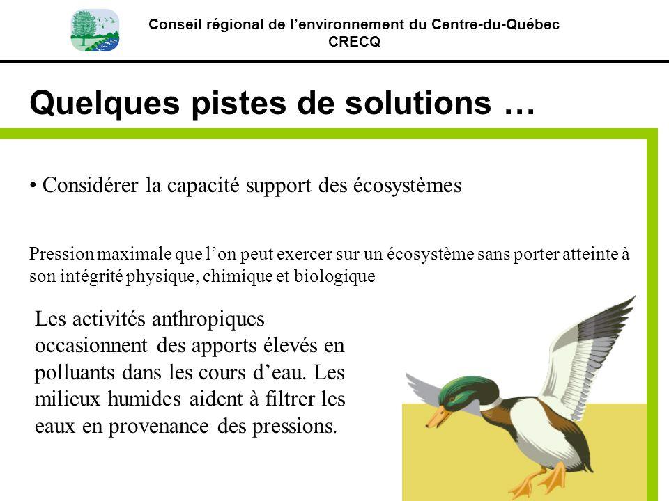 Conseil régional de lenvironnement du Centre-du-Québec CRECQ Quelques pistes de solutions … Considérer la capacité support des écosystèmes Pression ma