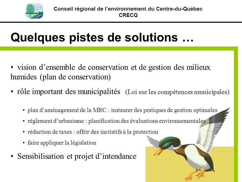 Conseil régional de lenvironnement du Centre-du-Québec CRECQ Quelques pistes de solutions … vision densemble de conservation et de gestion des milieux