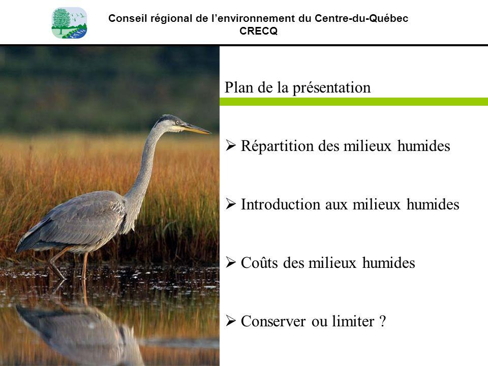 Plan de la présentation Répartition des milieux humides Introduction aux milieux humides Coûts des milieux humides Conserver ou limiter ? Conseil régi