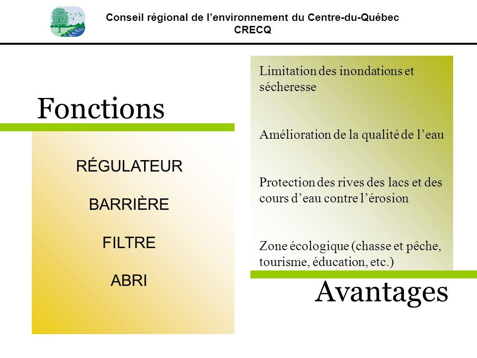 Conseil régional de lenvironnement du Centre-du-Québec CRECQ RÉGULATEUR BARRIÈRE FILTRE ABRI Limitation des inondations et sécheresse Amélioration de