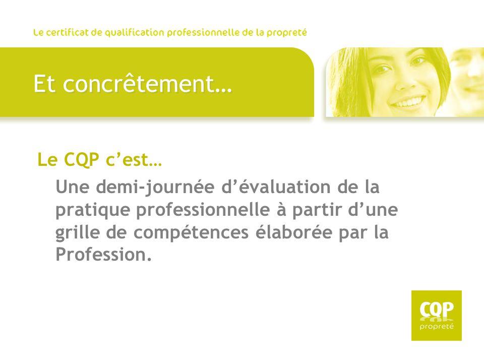 Et concrêtement… Le CQP cest… Une demi-journée dévaluation de la pratique professionnelle à partir dune grille de compétences élaborée par la Professi