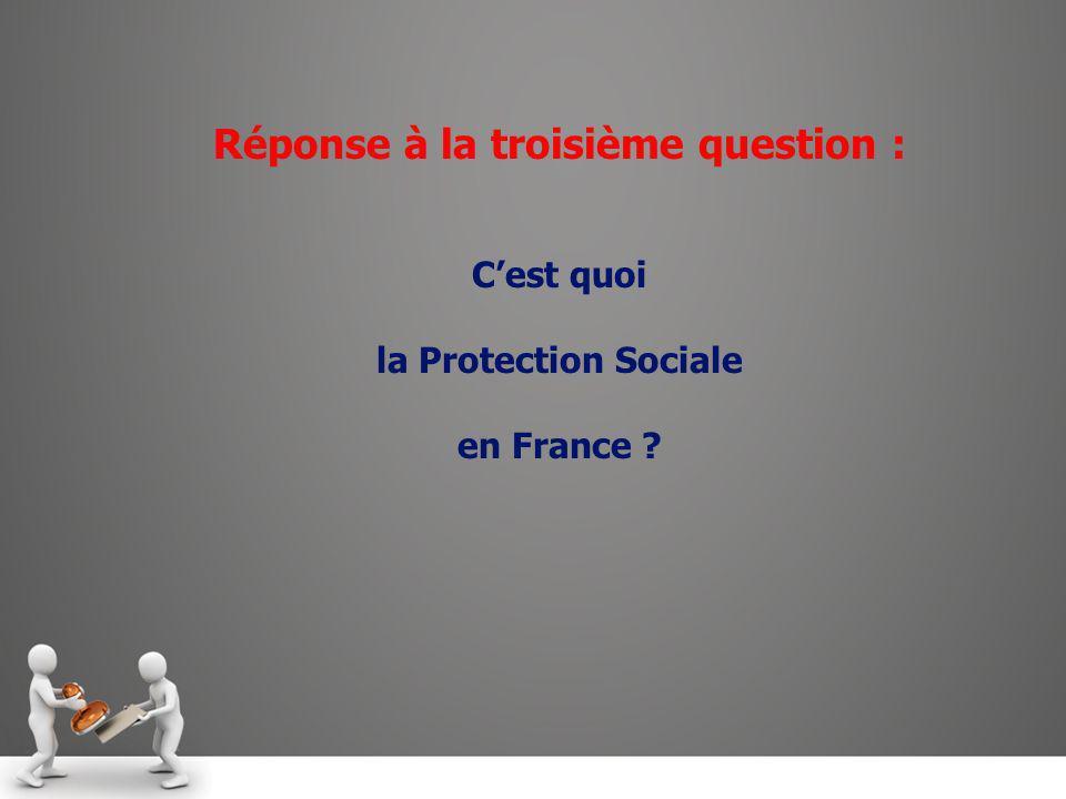 Réponse à la troisième question : Cest quoi la Protection Sociale en France ?