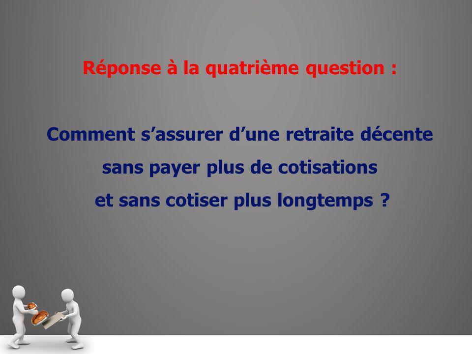 Réponse à la quatrième question : Comment sassurer dune retraite décente sans payer plus de cotisations et sans cotiser plus longtemps ?