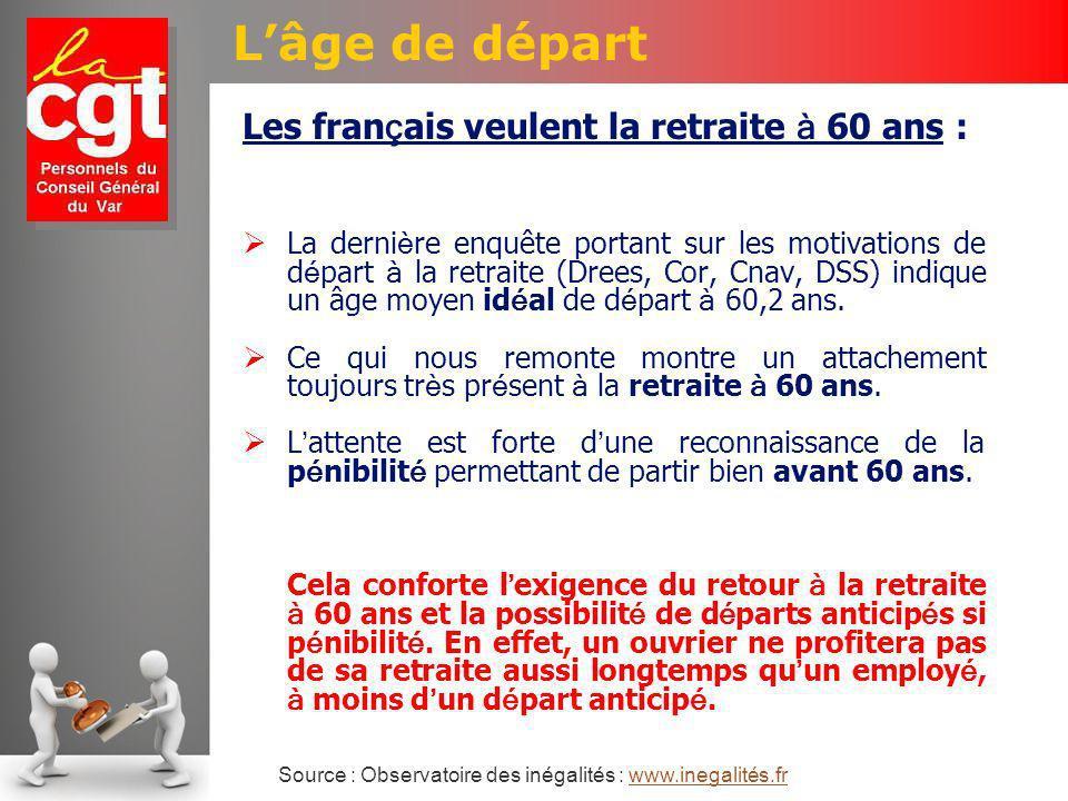 Lâge de départ Les fran ç ais veulent la retraite à 60 ans : La derni è re enquête portant sur les motivations de d é part à la retraite (Drees, Cor, Cnav, DSS) indique un âge moyen id é al de d é part à 60,2 ans.