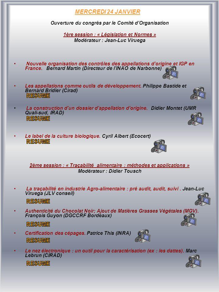 MERCREDI 24 JANVIER Ouverture du congrès par le Comité dOrganisation 1ère session : « Législation et Normes » Modérateur : Jean-Luc Viruega Nouvelle organisation des contrôles des appellations dorigine et IGP en France.