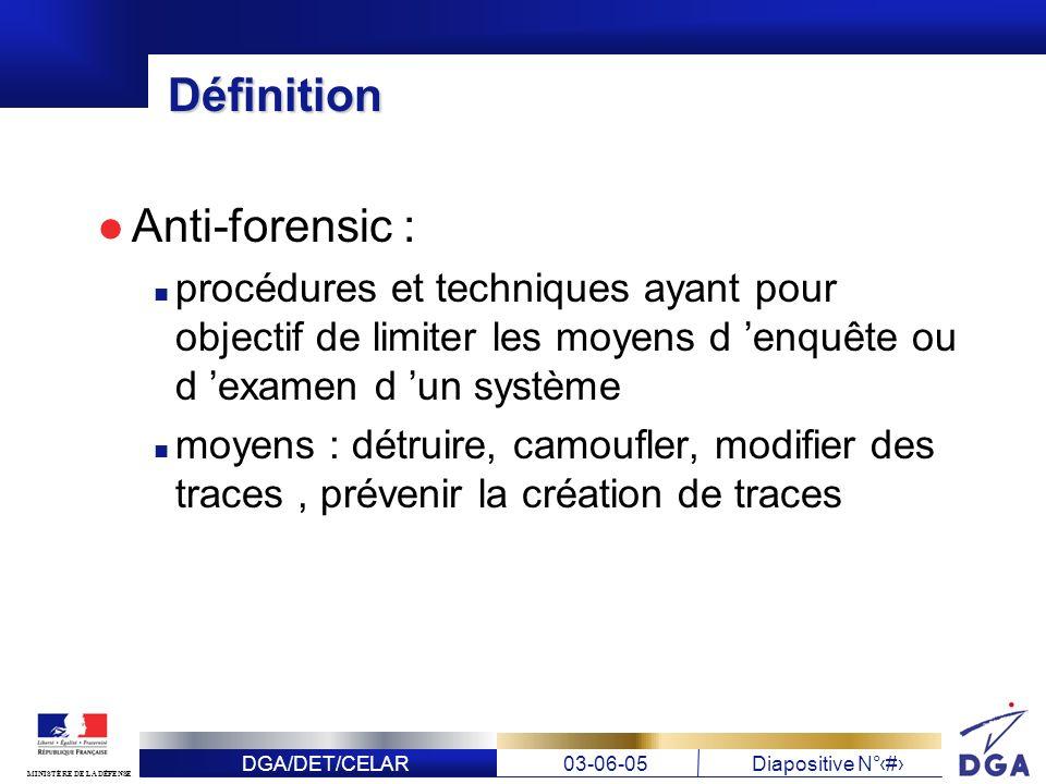 DGA/DET/CELAR03-06-05Diapositive N° 3 MINISTÈRE DE LA DÉFENSE Définition Anti-forensic : procédures et techniques ayant pour objectif de limiter les m