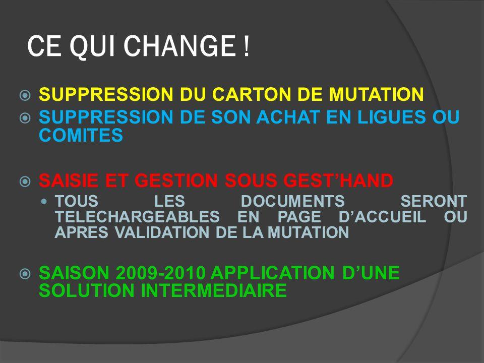 PROCEDURE NIVEAU CLUB TELECHARGER SUR LA PAGE DACCUEIL DE GESTHAND, LES DOCUMENTS SUIVANTS: - LETTRE DE DEMISSION;LETTRE DE DEMISSION; -- LE DOCUMENT INTITULE « A JOINDRE A VOTRE DOSSIER DE MUTATION;A JOINDRE A VOTRE DOSSIER DE MUTATION; -- UN BORDEREAU DE LICENCE VIERGE AVEC LES CONDITIONS DASSURANCE AU VERSO