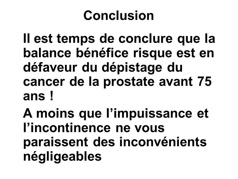 Conclusion Il est temps de conclure que la balance bénéfice risque est en défaveur du dépistage du cancer de la prostate avant 75 ans ! A moins que li