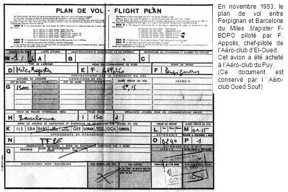 En novembre 1953, le plan de vol entre Perpignan et Barcelone du Miles Magister F- BDPO piloté par F. Appolis, chef-pilote de lAéro-club dEl-Oued. Cet