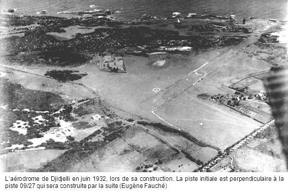 Laérodrome de Djidjelli en juin 1932, lors de sa construction. La piste initiale est perpendiculaire à la piste 09/27 qui sera construite par la suite