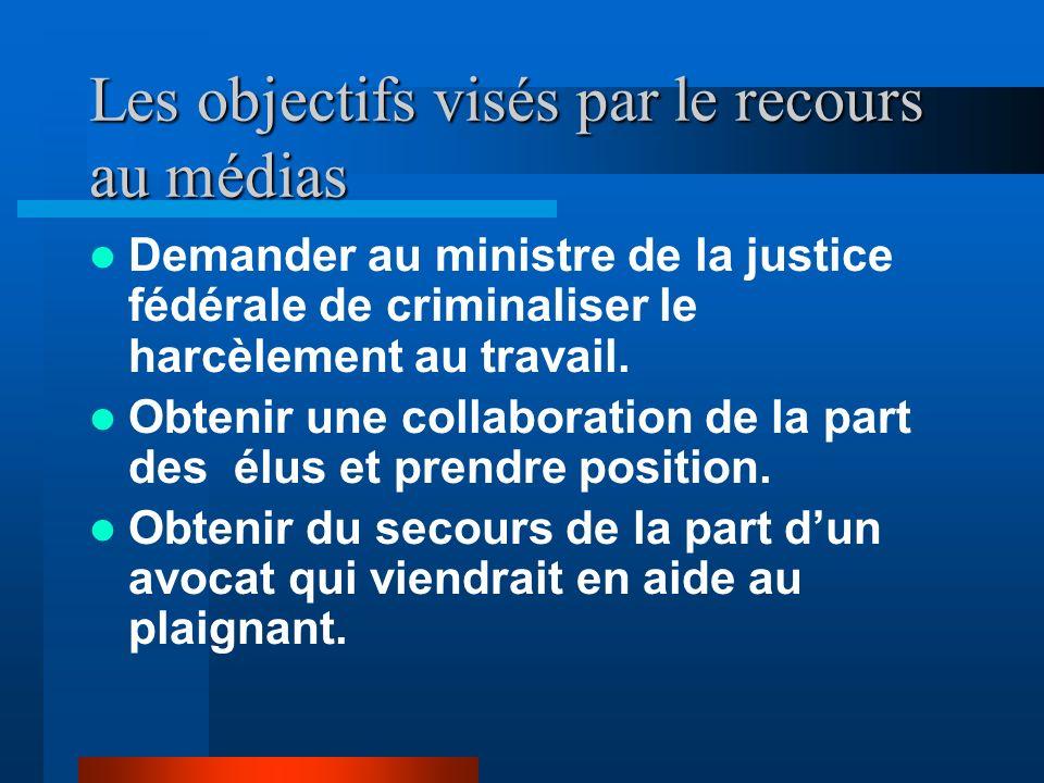 Les objectifs visés par le recours au médias Inciter les ministres à prendre position en regard de la loi sur les dénonciateurs. Dénoncer publiquement