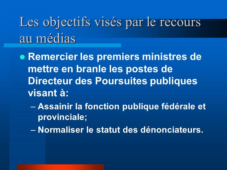 Les objectifs visés par le recours au médias Obtenir de laide financière de la part du public dans un fonds attribué à cet effet. Être indemnisé par l