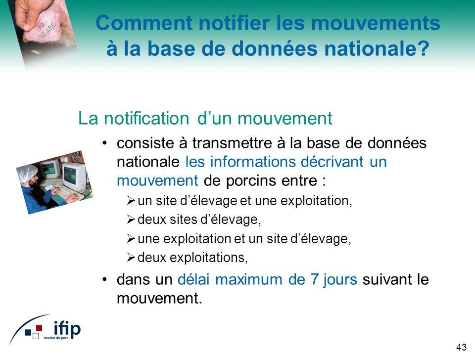 43 Comment notifier les mouvements à la base de données nationale.