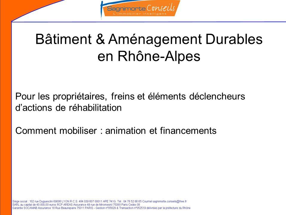 Bâtiment & Aménagement Durables en Rhône-Alpes Pour les propriétaires, freins et éléments déclencheurs dactions de réhabilitation Comment mobiliser : animation et financements