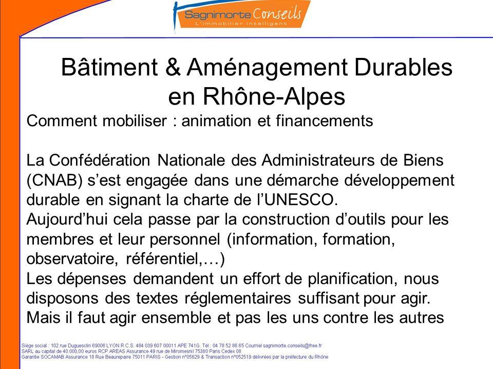 Bâtiment & Aménagement Durables en Rhône-Alpes Comment mobiliser : animation et financements La Confédération Nationale des Administrateurs de Biens (CNAB) sest engagée dans une démarche développement durable en signant la charte de lUNESCO.