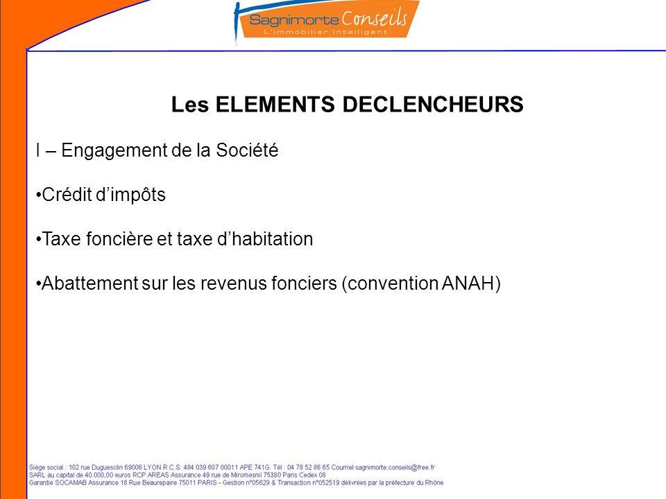 Les ELEMENTS DECLENCHEURS I – Engagement de la Société Crédit dimpôts Taxe foncière et taxe dhabitation Abattement sur les revenus fonciers (convention ANAH)