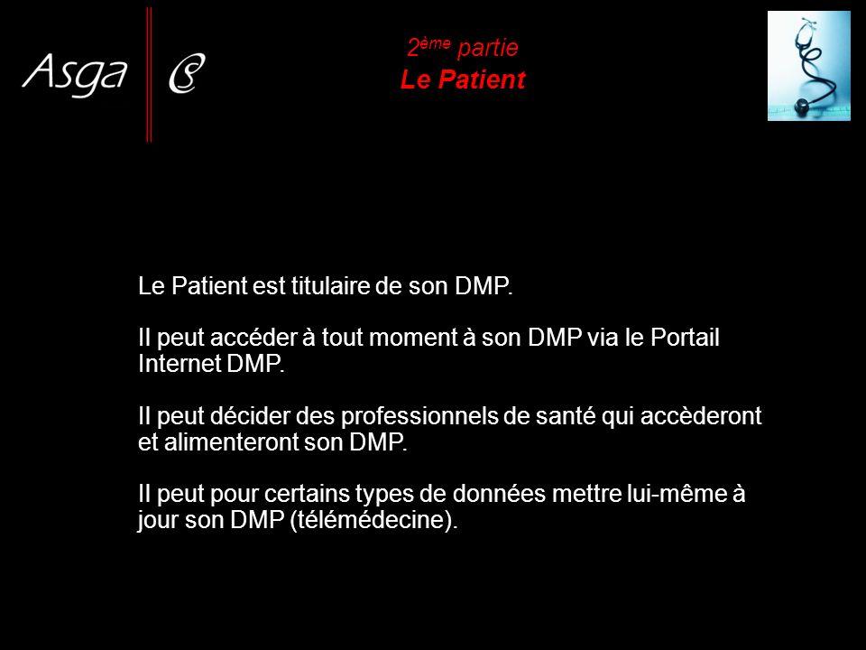 2 ème partie Le Patient Le Patient est titulaire de son DMP. Il peut accéder à tout moment à son DMP via le Portail Internet DMP. Il peut décider des