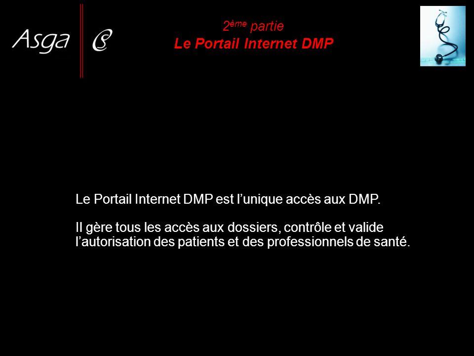2 ème partie Le Portail Internet DMP Le Portail Internet DMP est lunique accès aux DMP. Il gère tous les accès aux dossiers, contrôle et valide lautor
