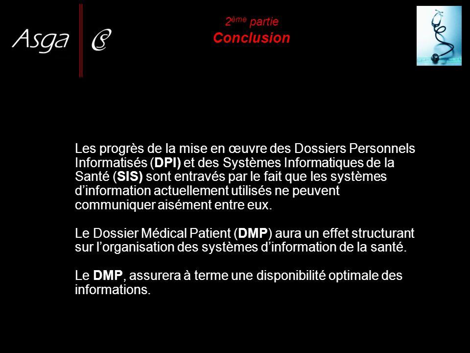 2 ème partie Conclusion Les progrès de la mise en œuvre des Dossiers Personnels Informatisés (DPI) et des Systèmes Informatiques de la Santé (SIS) son