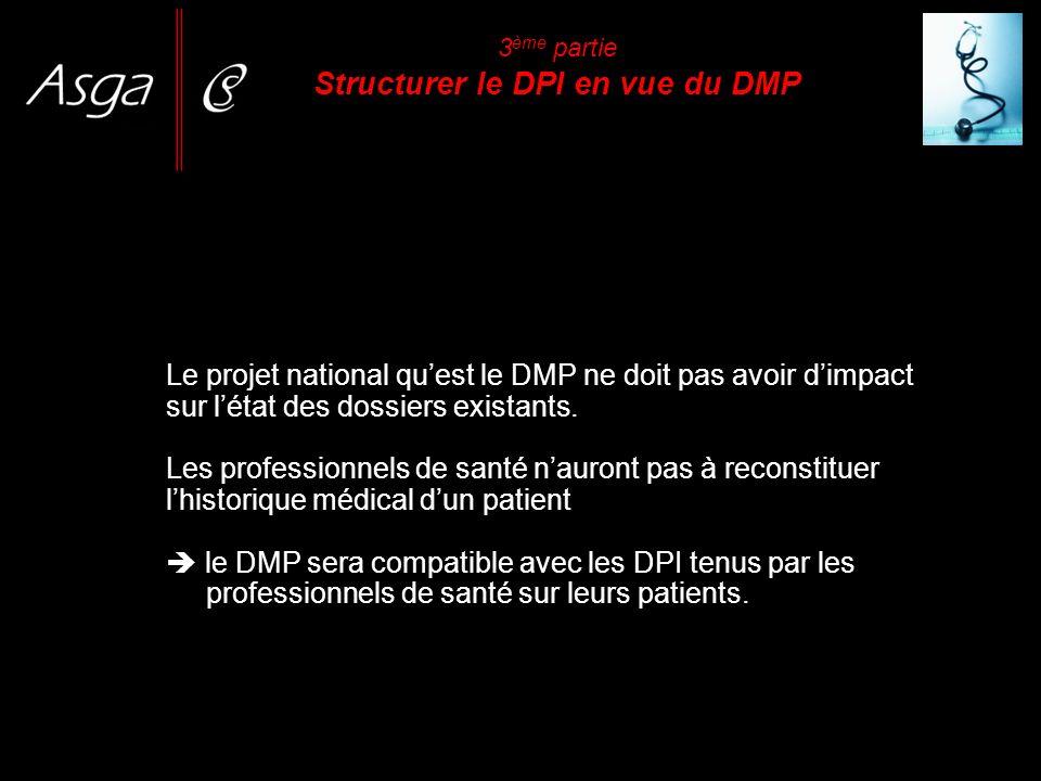 Le projet national quest le DMP ne doit pas avoir dimpact sur létat des dossiers existants. Les professionnels de santé nauront pas à reconstituer lhi