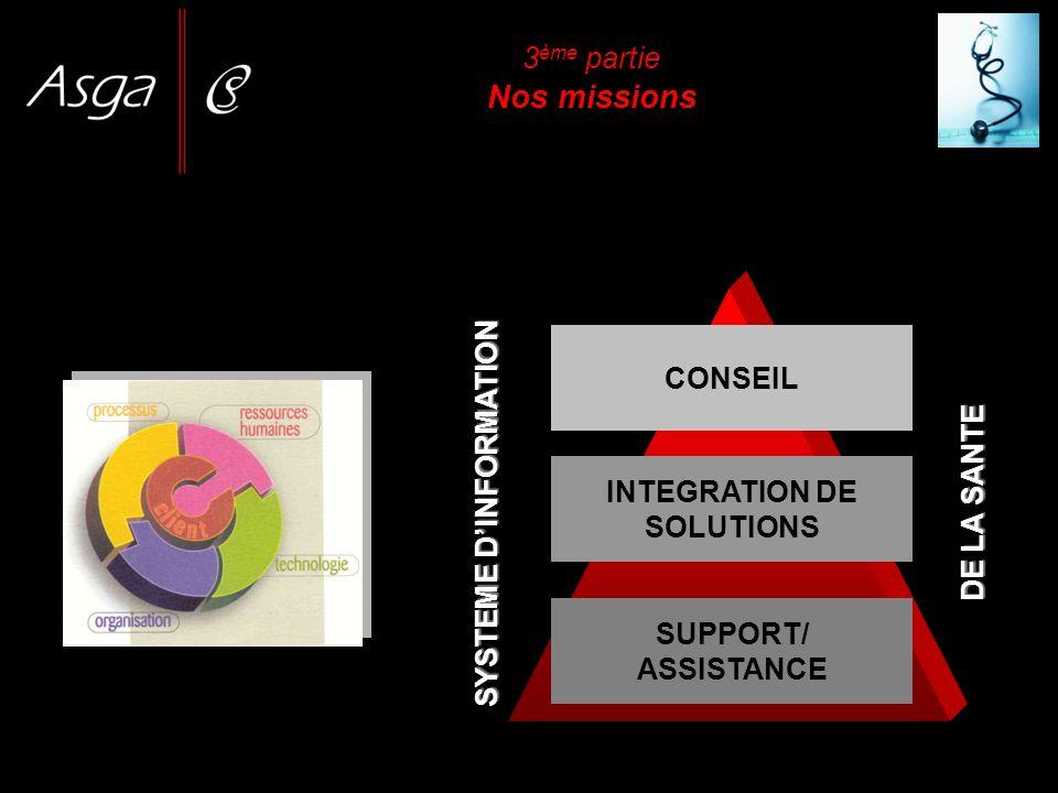 SYSTEME DINFORMATION CONSEIL INTEGRATION DE SOLUTIONS SUPPORT/ ASSISTANCE DE LA SANTE 3 ème partie Nos missions
