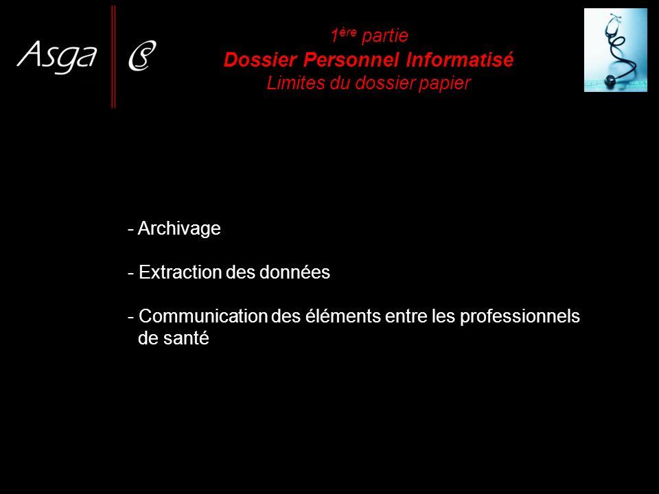 1 ère partie Dossier Personnel Informatisé Limites du dossier papier - Archivage - Extraction des données - Communication des éléments entre les profe