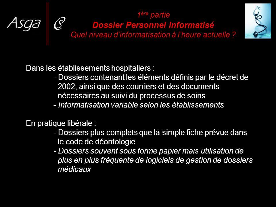 1 ère partie Dossier Personnel Informatisé Quel niveau dinformatisation à lheure actuelle ? Dans les établissements hospitaliers : - Dossiers contenan