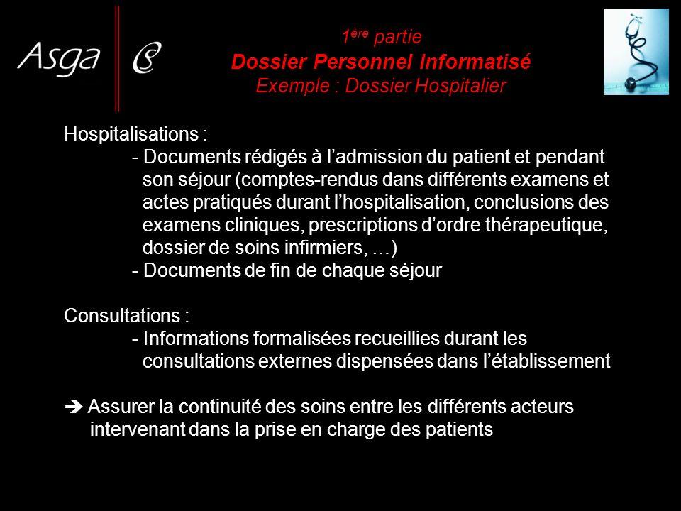 1 ère partie Dossier Personnel Informatisé Exemple : Dossier Hospitalier Hospitalisations : - Documents rédigés à ladmission du patient et pendant son