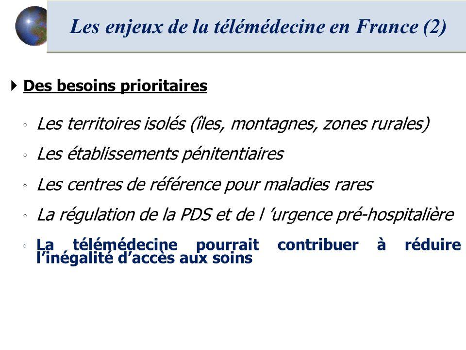 Des besoins prioritaires Les territoires isolés (îles, montagnes, zones rurales) Les établissements pénitentiaires Les centres de référence pour malad
