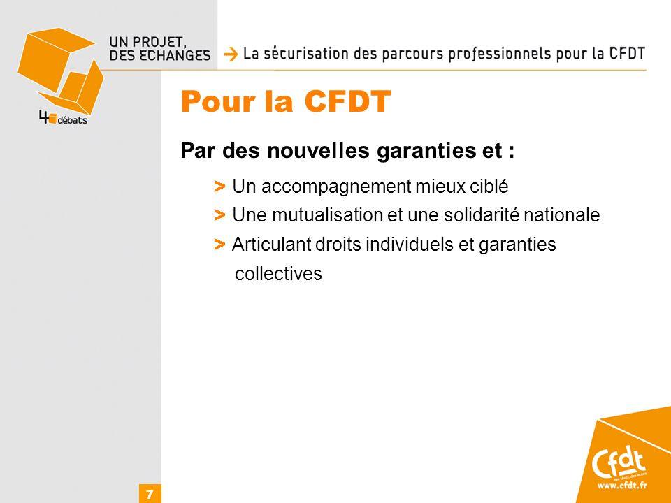 Pour la CFDT Par des nouvelles garanties et : > Un accompagnement mieux ciblé > Une mutualisation et une solidarité nationale > Articulant droits individuels et garanties collectives 7