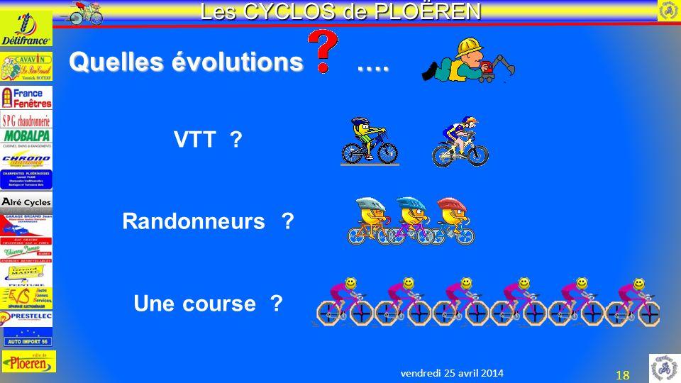 vendredi 25 avril 2014 Les CYCLOS de PLOËREN 18 Quelles évolutions ….