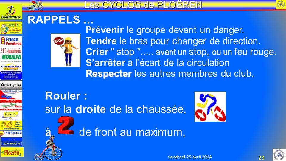 vendredi 25 avril 2014 Les CYCLOS de PLOËREN 23 Prévenir le groupe devant un danger.