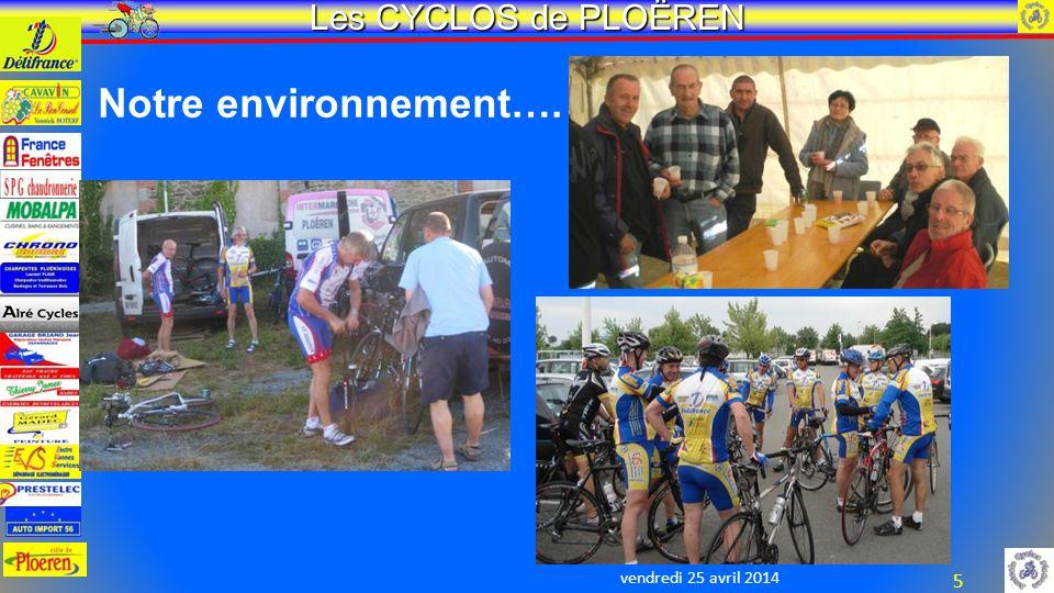 vendredi 25 avril 2014 Les CYCLOS de PLOËREN 5 Notre environnement….