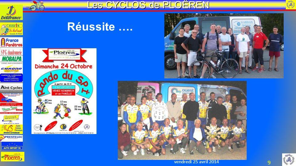 vendredi 25 avril 2014 Les CYCLOS de PLOËREN 9 Réussite ….