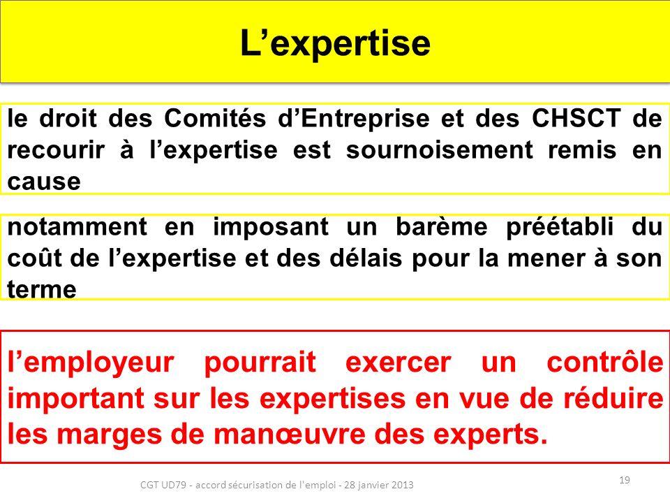 19 CGT UD79 - accord sécurisation de l emploi - 28 janvier 2013 Lexpertise le droit des Comités dEntreprise et des CHSCT de recourir à lexpertise est sournoisement remis en cause notamment en imposant un barème préétabli du coût de lexpertise et des délais pour la mener à son terme lemployeur pourrait exercer un contrôle important sur les expertises en vue de réduire les marges de manœuvre des experts.