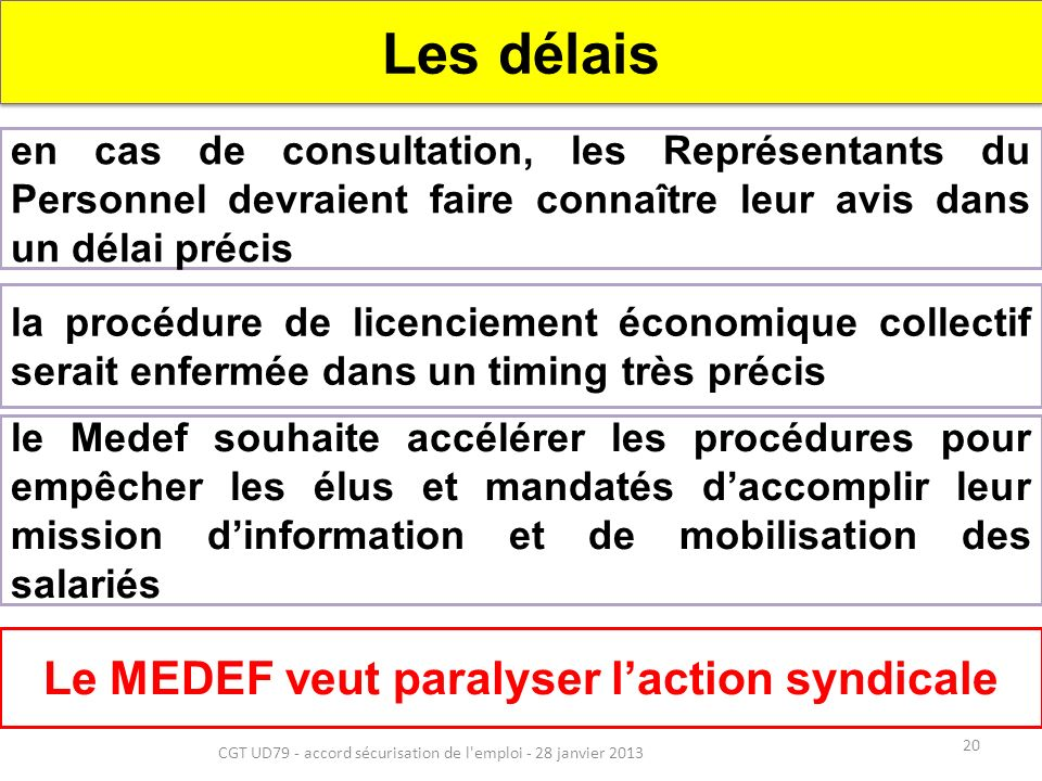 20 CGT UD79 - accord sécurisation de l emploi - 28 janvier 2013 Les délais en cas de consultation, les Représentants du Personnel devraient faire connaître leur avis dans un délai précis la procédure de licenciement économique collectif serait enfermée dans un timing très précis Le MEDEF veut paralyser laction syndicale le Medef souhaite accélérer les procédures pour empêcher les élus et mandatés daccomplir leur mission dinformation et de mobilisation des salariés