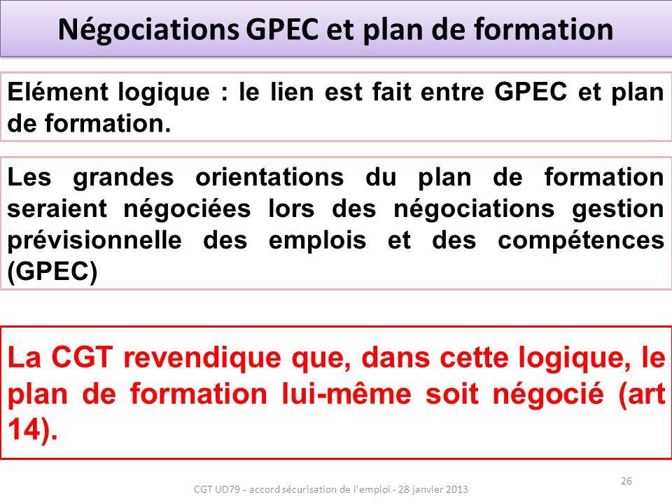 Négociations GPEC et plan de formation La CGT revendique que, dans cette logique, le plan de formation lui-même soit négocié (art 14).