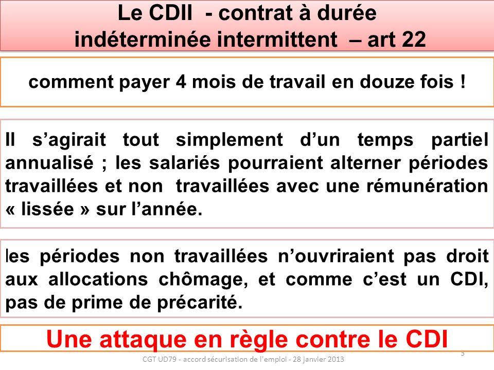 Le CDII - contrat à durée indéterminée intermittent – art 22 Le CDII - contrat à durée indéterminée intermittent – art 22 les périodes non travaillées nouvriraient pas droit aux allocations chômage, et comme cest un CDI, pas de prime de précarité.