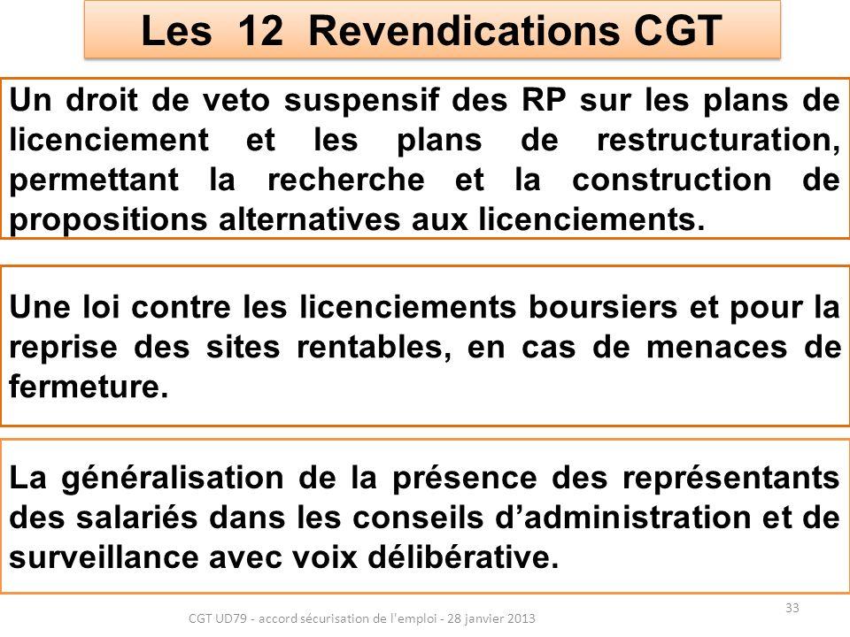 33 CGT UD79 - accord sécurisation de l emploi - 28 janvier 2013 Les 12 Revendications CGT Les 12 Revendications CGT Un droit de veto suspensif des RP sur les plans de licenciement et les plans de restructuration, permettant la recherche et la construction de propositions alternatives aux licenciements.