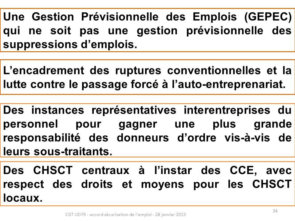 34 CGT UD79 - accord sécurisation de l emploi - 28 janvier 2013 Une Gestion Prévisionnelle des Emplois (GEPEC) qui ne soit pas une gestion prévisionnelle des suppressions demplois.