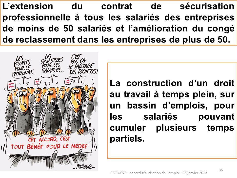 35 CGT UD79 - accord sécurisation de l emploi - 28 janvier 2013 Lextension du contrat de sécurisation professionnelle à tous les salariés des entreprises de moins de 50 salariés et lamélioration du congé de reclassement dans les entreprises de plus de 50.