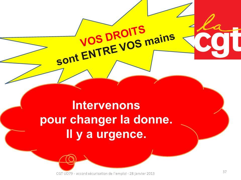 37 CGT UD79 - accord sécurisation de l emploi - 28 janvier 2013 VOS DROITS sont ENTRE VOS mains Intervenons pour changer la donne.
