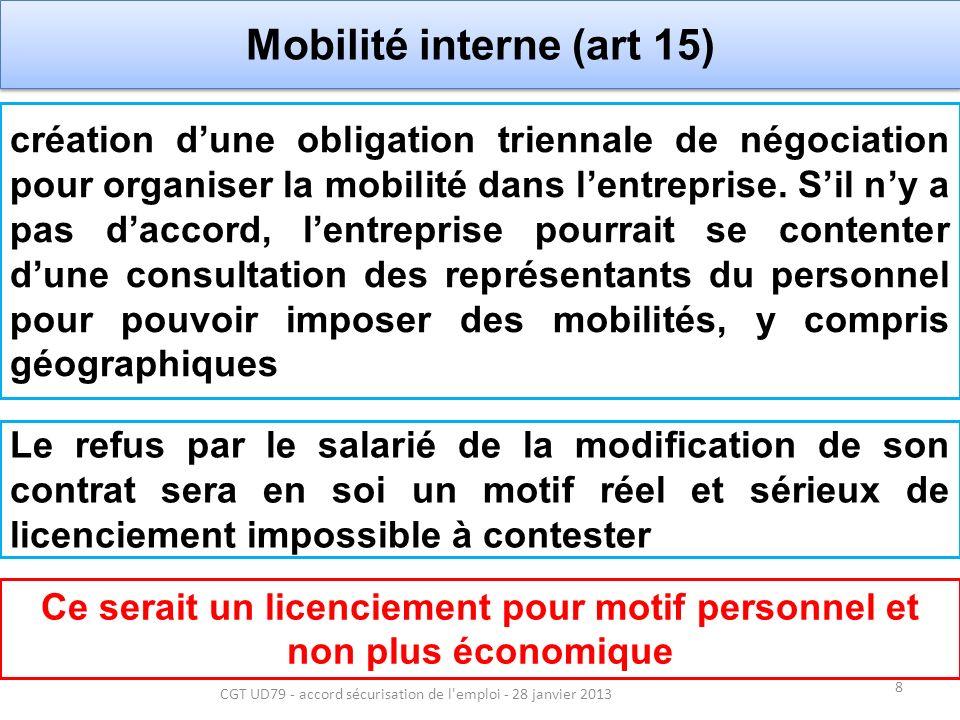 9 CGT UD79 - accord sécurisation de l emploi - 28 janvier 2013 Chantage à lemploi N Sarkozy en avait fait son cheval de bataille, mais cela avait raté Laccord prévoit que les salariés qui touchent en net au moins 1300/mois pourront voir leur salaire baissé ou leurs horaires modifiées pendant 2 ans .