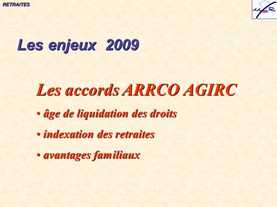 RETRAITESRETRAITES Les accords ARRCO AGIRC âge de liquidation des droits âge de liquidation des droits indexation des retraites indexation des retraites avantages familiaux avantages familiaux Les enjeux 2009