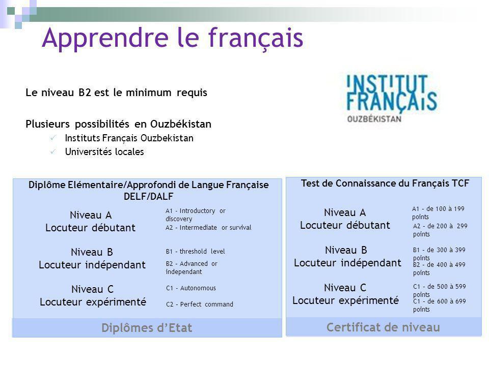 Apprendre le français Le niveau B2 est le minimum requis Plusieurs possibilités en Ouzbékistan Instituts Français Ouzbekistan Universités locales Nive