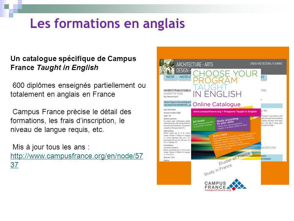 Les formations en anglais Un catalogue spécifique de Campus France Taught in English 600 diplômes enseignés partiellement ou totalement en anglais en