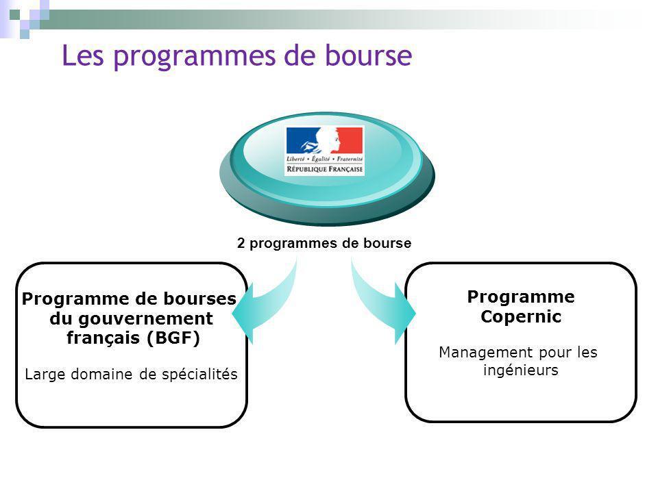 Programme Copernic Management pour les ingénieurs Les programmes de bourse Programme de bourses du gouvernement français (BGF) Large domaine de spécia