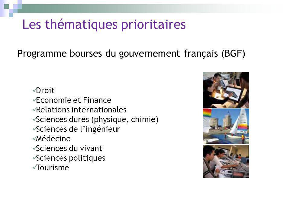 Les thématiques prioritaires Programme bourses du gouvernement français (BGF) Droit Economie et Finance Relations internationales Sciences dures (phys
