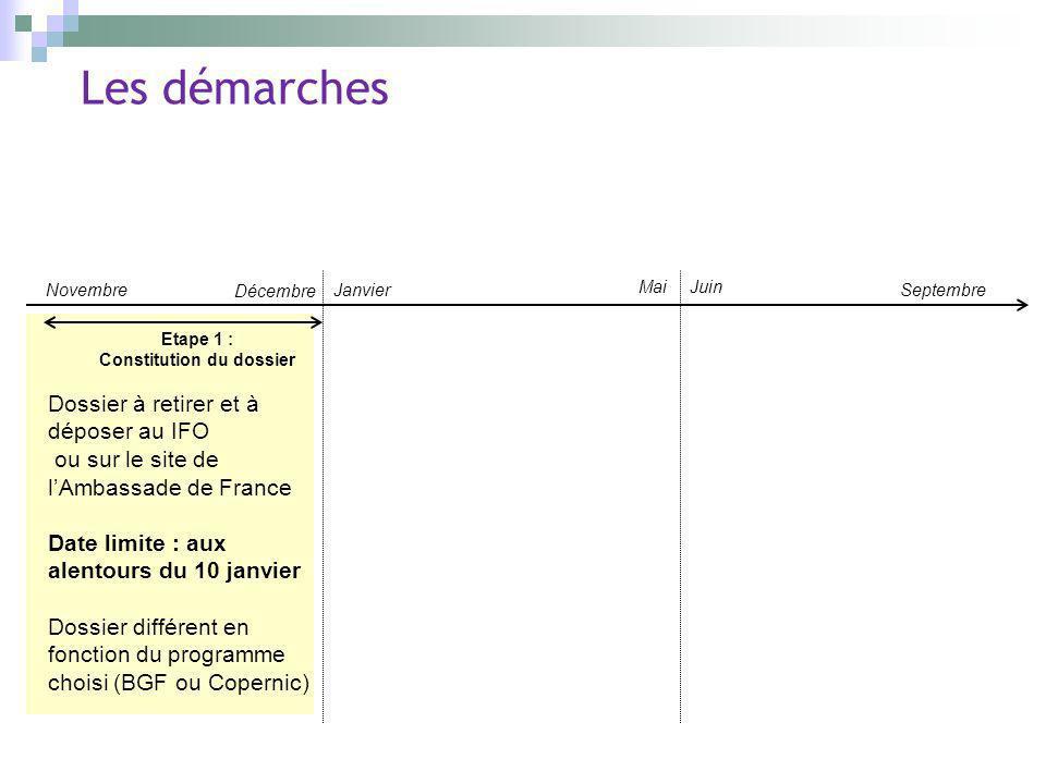 Les démarches Novembre Décembre Janvier Mai Septembre Juin Etape 1 : Constitution du dossier Dossier à retirer et à déposer au IFO ou sur le site de l