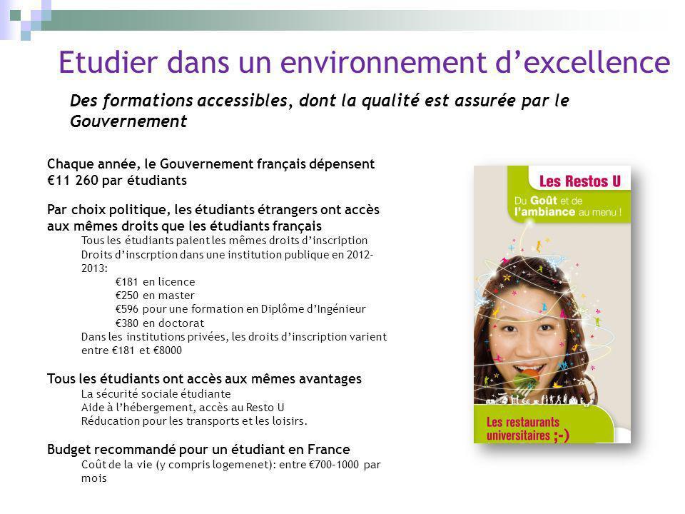 Des formations accessibles, dont la qualité est assurée par le Gouvernement Etudier dans un environnement dexcellence Chaque année, le Gouvernement fr